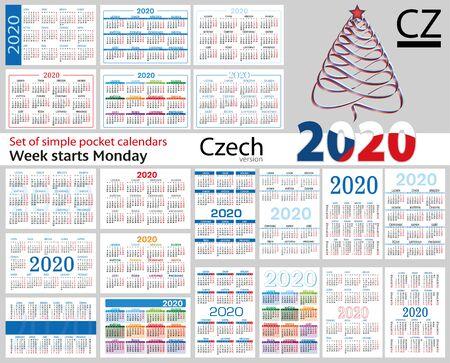 Conjunto checo de calendarios de bolsillo para 2020 (dos mil diecinueve). La semana comienza el lunes. Año nuevo. Diseño simple en color. Vector Ilustración de vector