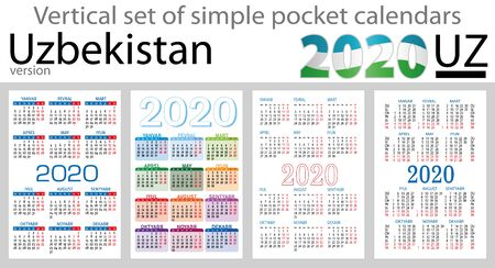 Uzbekistan vertical set of pocket calendars for 2020 (Two thousand nineteen). Week starts Monday. New year. Color simple design. Vector
