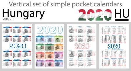 Hungary vertical set of pocket calendars for 2020 (Two thousand nineteen). Week starts Monday. New year. Color simple design. Vector Illustration