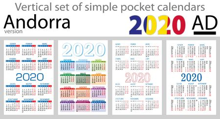 Andorra vertical set of pocket calendars for 2020 (Two thousand nineteen). New year. Color simple design. Vector