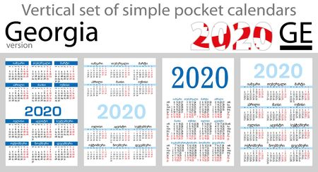 Georgia vertical set of pocket calendars for 2020 (Two thousand nineteen). New year. Color simple design. Vector Stock Illustratie