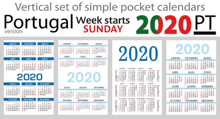 Portugal set of pocket calendars for 2020 (Two thousand nineteen). Week starts sunday. New year. Color simple design. Vector