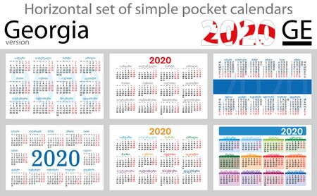 Georgia horizontal set of pocket calendars for 2020 (Two thousand nineteen). New year. Color simple design. Vector