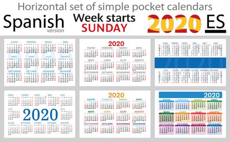 Spanish set of pocket calendars for 2020 (Two thousand nineteen). Week starts sunday. New year. Color simple design. Vector