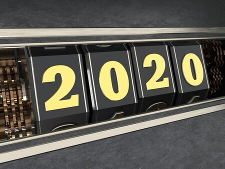 Happy New Year 2020. Numbers 2020 in the style of a one-armed bandit. 3d illustration.
