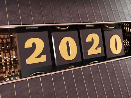 Happy New Year 2020. Numbers 2020 in the style of a one-armed bandit. 3d illustration. Reklamní fotografie - 131392599