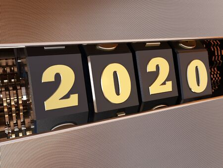 Happy New Year 2020. Numbers 2020 in the style of a one-armed bandit. 3d illustration. Reklamní fotografie - 131392593