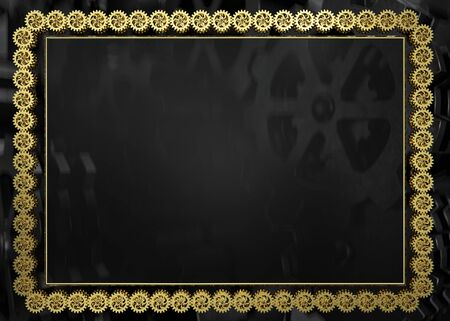 Golden gears frame with gray gears background. 3D illustration Stockfoto