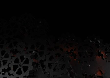 Abstract background from metal gears with red backlight. 3D illustration