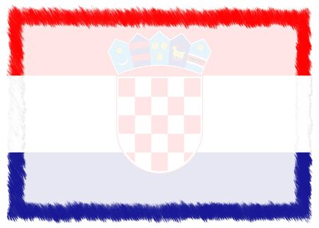 Border made with Croatia national flag. Brush stroke frame. Template elements for your certificate and diploma. Horizontal orientation.