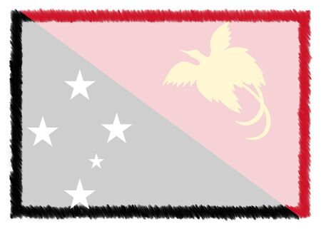 Border made with Papua New Guinea national flag. Brush stroke frame. Template elements for your certificate and diploma. Horizontal orientation.