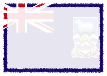Border made with Falkland Island national flag. Brush stroke frame. Template elements for your certificate and diploma. Horizontal orientation.