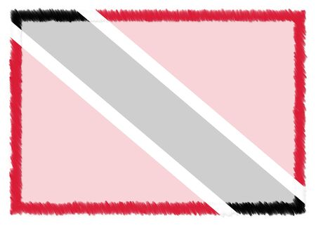 Border made with Trinidad and Tobago national flag. Brush stroke frame. Template elements for your certificate and diploma. Horizontal orientation. 版權商用圖片