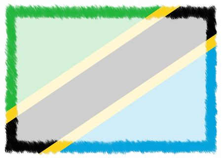 Border made with Tanzania national flag. Brush stroke frame. Template elements for your certificate and diploma. Horizontal orientation.