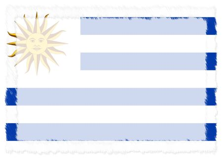 Border made with Uruguay national flag. Brush stroke frame. Template elements for your certificate and diploma. Horizontal orientation.