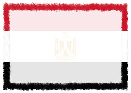 Border made with Egypt national flag. Brush stroke frame. Template elements for your certificate and diploma. Horizontal orientation. 版權商用圖片