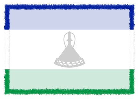Border made with Lesotho national flag. Brush stroke frame. Template elements for your certificate and diploma. Horizontal orientation.