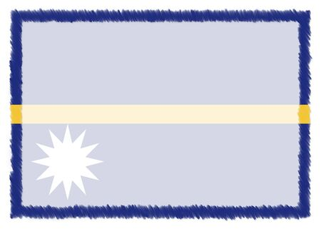 Border made with Nauru national flag. Brush stroke frame. Template elements for your certificate and diploma. Horizontal orientation.