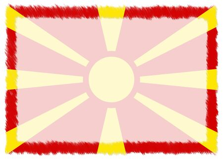 Border made with Macedonia national flag. Brush stroke frame. Template elements for your certificate and diploma. Horizontal orientation.