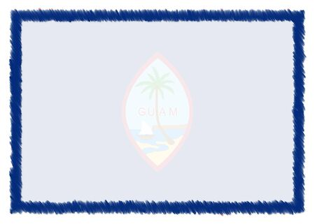 Border made with Guam national flag. Brush stroke frame. Template elements for your certificate and diploma. Horizontal orientation.