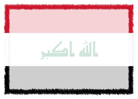 Border made with Iraq national flag. Brush stroke frame. Template elements for your certificate and diploma. Horizontal orientation. 版權商用圖片