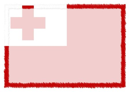Border made with Tonga national flag. Brush stroke frame. Template elements for your certificate and diploma. Horizontal orientation.