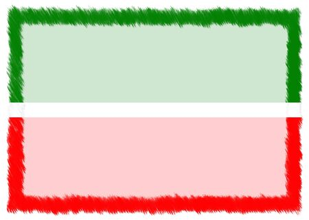 Border made with Tatarstan national flag. Brush stroke frame. Template elements for your certificate and diploma. Horizontal orientation.