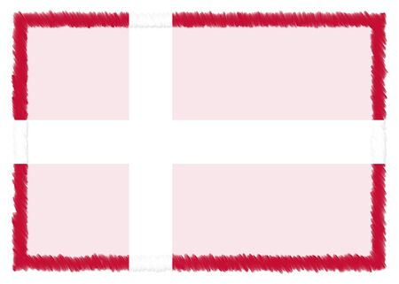 Border made with Denmark national flag. Brush stroke frame. Template elements for your certificate and diploma. Horizontal orientation.