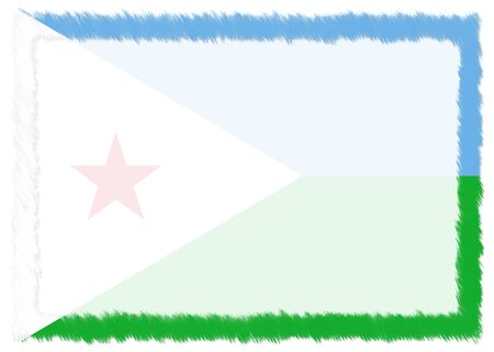 Border made with Djibouti national flag. Brush stroke frame. Template elements for your certificate and diploma. Horizontal orientation. 스톡 콘텐츠 - 131392755