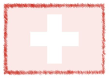 Border made with Switzerland national flag. Brush stroke frame. Template elements for your certificate and diploma. Horizontal orientation.