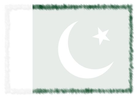 Border made with Pakistan national flag. Brush stroke frame. Template elements for your certificate and diploma. Horizontal orientation. 版權商用圖片