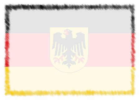 Border made with Germany national flag. Brush stroke frame. Template elements for your certificate and diploma. Horizontal orientation. Stockfoto