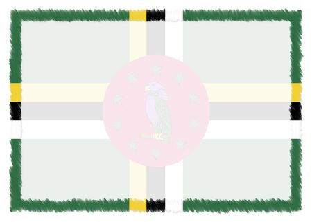 Border made with Dominica national flag. Brush stroke frame. Template elements for your certificate and diploma. Horizontal orientation. 版權商用圖片