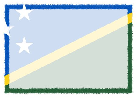 Border made with Solomon Islands national flag. Brush stroke frame. Template elements for your certificate and diploma. Horizontal orientation.