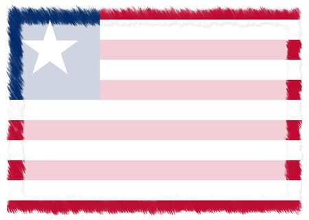 Border made with Liberia national flag. Brush stroke frame. Template elements for your certificate and diploma. Horizontal orientation.