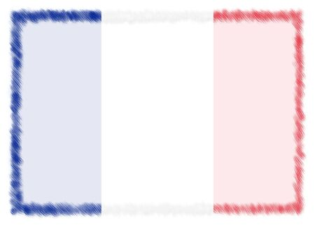 Border made with France national flag. Brush stroke frame. Template elements for your certificate and diploma. Horizontal orientation.