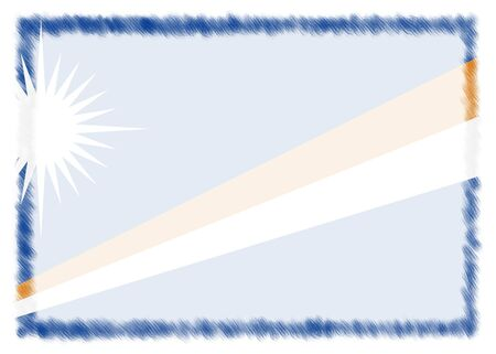 Border made with Marshall islands national flag. Brush stroke frame. Template elements for your certificate and diploma. Horizontal orientation.