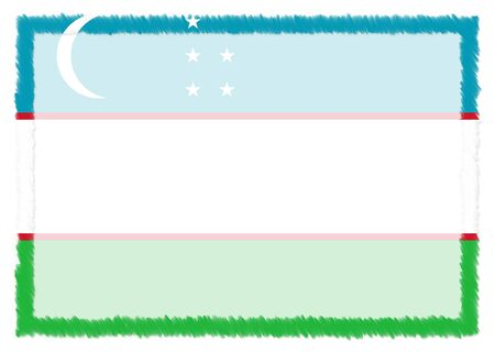 Border made with Uzbekistan national flag. Brush stroke frame. Template elements for your certificate and diploma. Horizontal orientation. 版權商用圖片