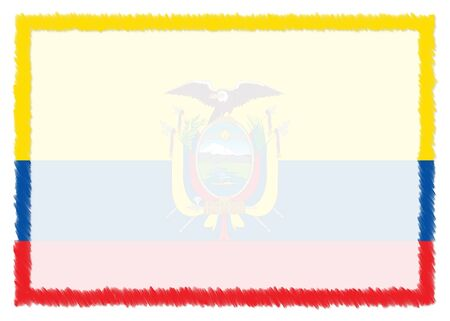 Border made with Ecuador national flag. Brush stroke frame. Template elements for your certificate and diploma. Horizontal orientation.