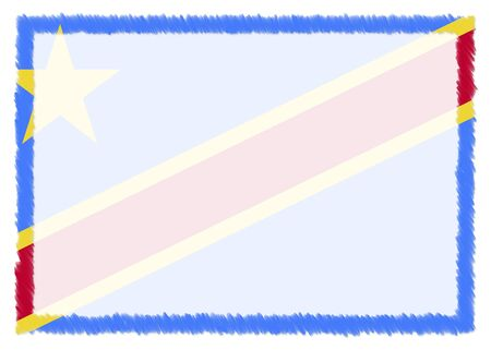 Border made with Democratic Republic of the Congo national flag. Brush stroke frame. Template elements for your certificate and diploma. Horizontal orientation.