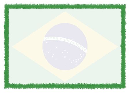 Border made with Brazil national flag. Brush stroke frame. Template elements for your certificate and diploma. Horizontal orientation.