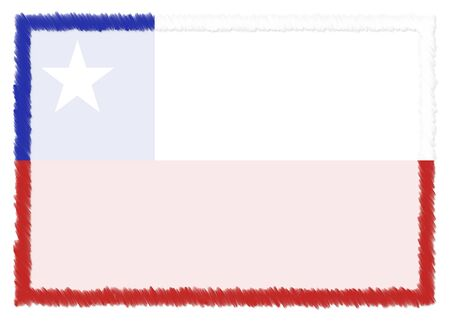 Border made with Chile national flag. Brush stroke frame. Template elements for your certificate and diploma. Horizontal orientation.