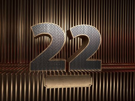 number 22 (number twenty-two), perforated with small holes on the background of metal pieces with the tablet for personalized inscriptions. 3D illustration