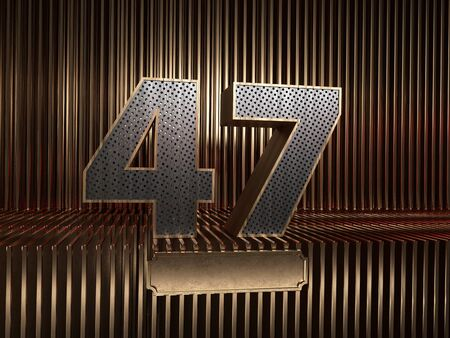 number 47 (number forty-seven), perforated with small holes on the background of metal pieces with the tablet for personalized inscriptions. 3D illustration