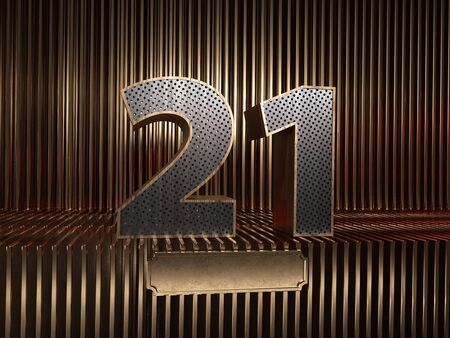 number 21 (number twenty-one), perforated with small holes on the background of metal pieces with the tablet for personalized inscriptions. 3D illustration