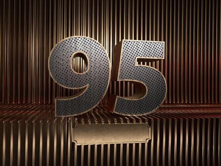 number 95 (number ninety-five), perforated with small holes on the background of metal pieces with the tablet for personalized inscriptions. 3D illustration 스톡 콘텐츠