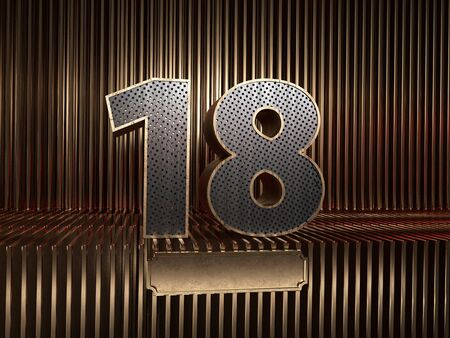 number 18 (number eighteen), perforated with small holes on the background of metal pieces with the tablet for personalized inscriptions. 3D illustration 스톡 콘텐츠