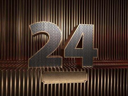 number 24 (number twenty-four), perforated with small holes on the background of metal pieces with the tablet for personalized inscriptions. 3D illustration 스톡 콘텐츠