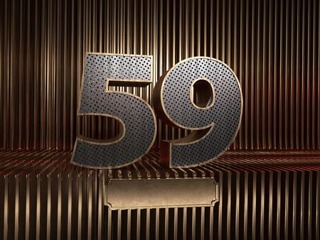 number 59 (number fifty-nine), perforated with small holes on the background of metal pieces with the tablet for personalized inscriptions. 3D illustration 스톡 콘텐츠
