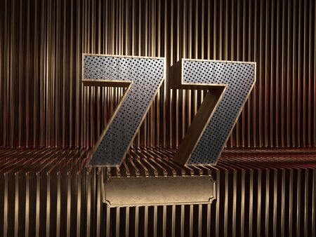 number 77 (number seventy-seven), perforated with small holes on the background of metal pieces with the tablet for personalized inscriptions. 3D illustration